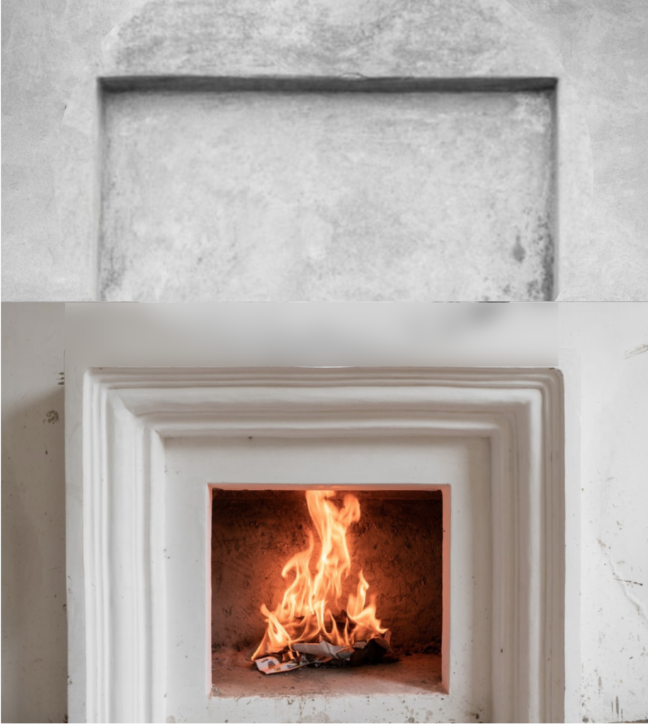 Alcove or niche above the fireplace