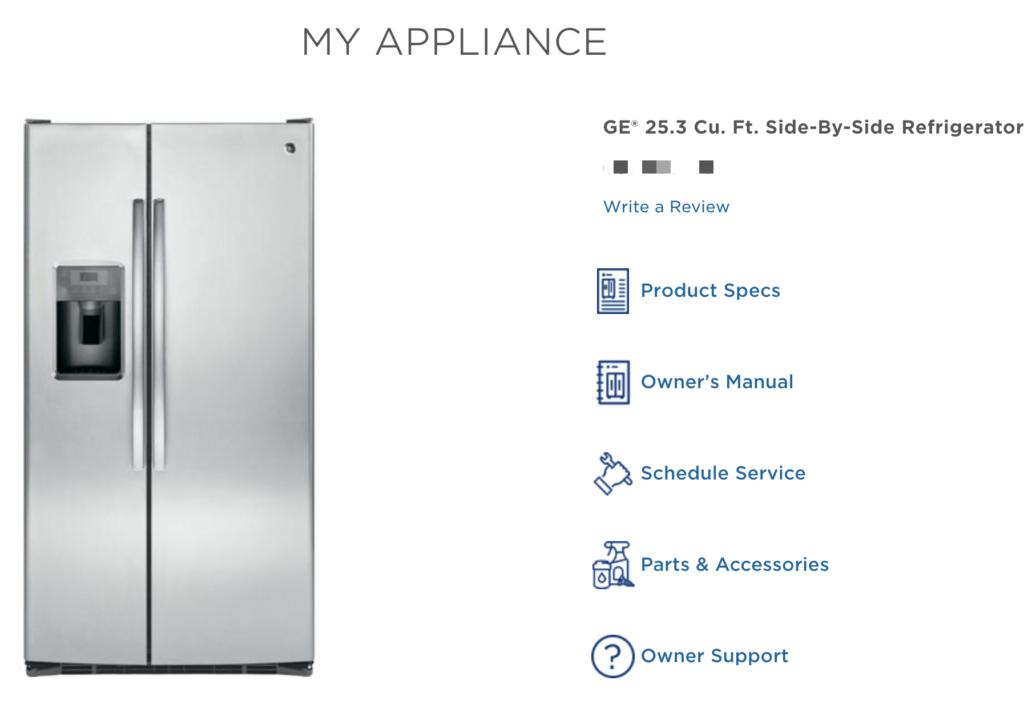 GE Refrigerator registration page