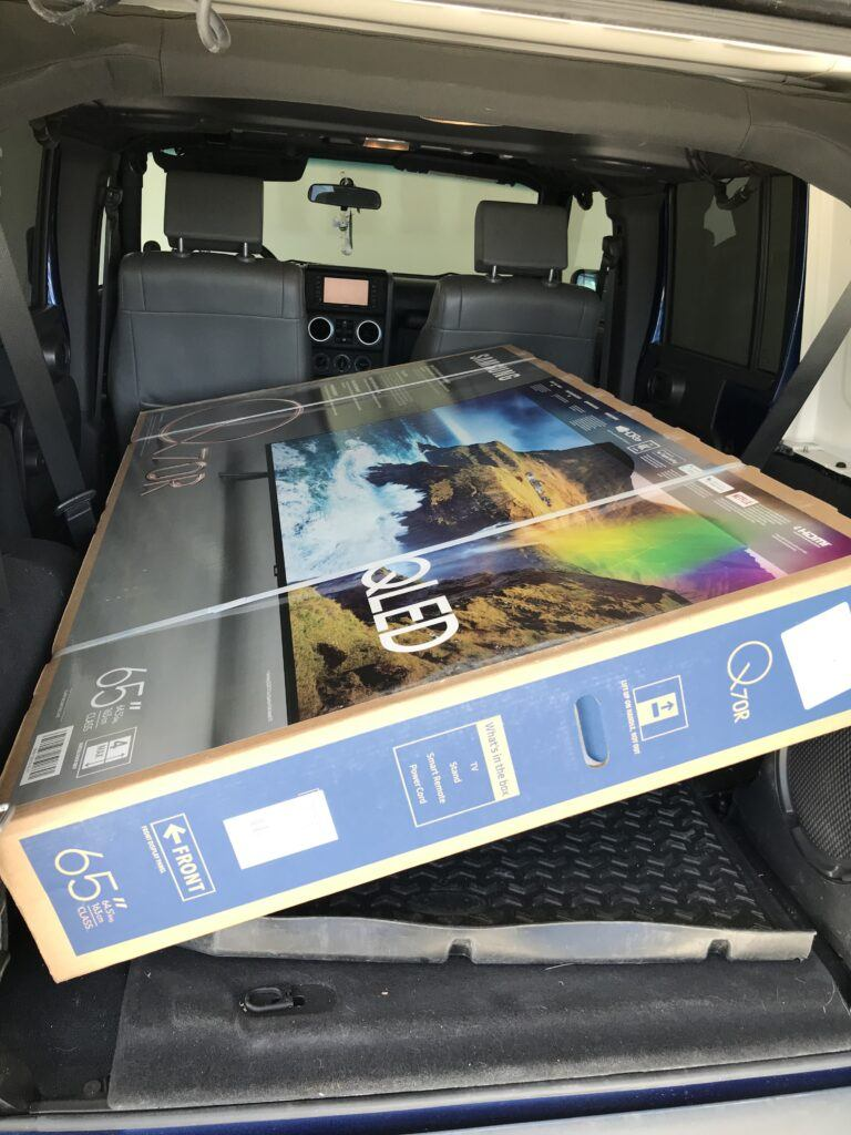 How to transport a 65 inch tv -Flat screen TV in Jeep