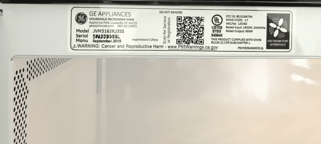 Do you need to register new appliances? - Microwave manufacturing date