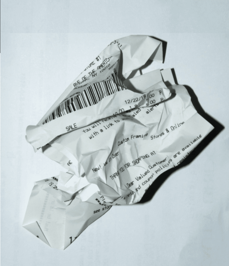 Wrinkled receipt