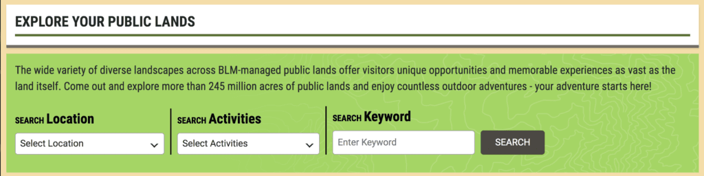 Where Can I Get Free Rocks for My Garden? - BLM search page screenshot
