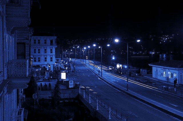 What Does It Mean to Have a Blue Porch Light? - City with blue lights